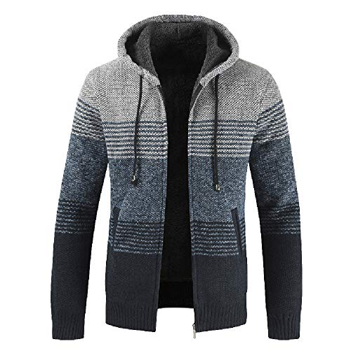 GOVOW 2018 Clothes Knit Cardigan Zipper Sweaters for Men Plus Size Autumn Winter Casual Coat(US:12/CN:XXL,Gray)
