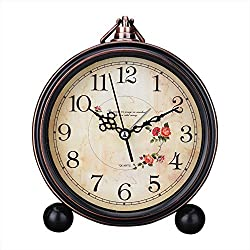 Kaimao Vintage Style Alarm Clock 5 (13cm) Silent Antique Retro Table Clock with Hanging Loop - Camellia