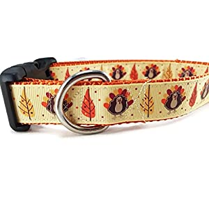 "CANINEDESIGN QUALITY DOG COLLARS Thanksgiving Dog Collar, Caninedesign, Autumn, Fall, Turkey, 1 inch wide, adjustable, nylon, medium and large (Thanksgiving, Medium 13-19"")"