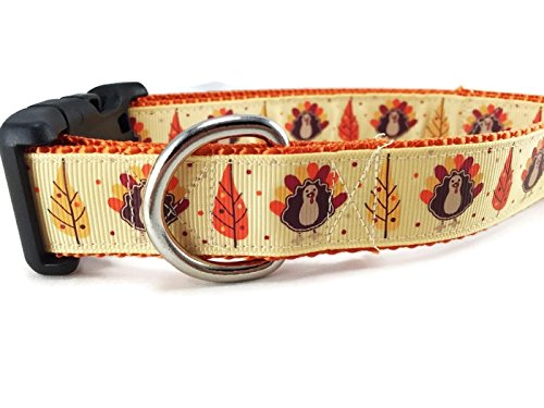 Thanksgiving Dog Collar, Caninedesign, Autumn, Fall, Turkey, 1 inch Wide, Adjustable, Nylon, Medium and Large (Thanksgiving, Medium 13-19