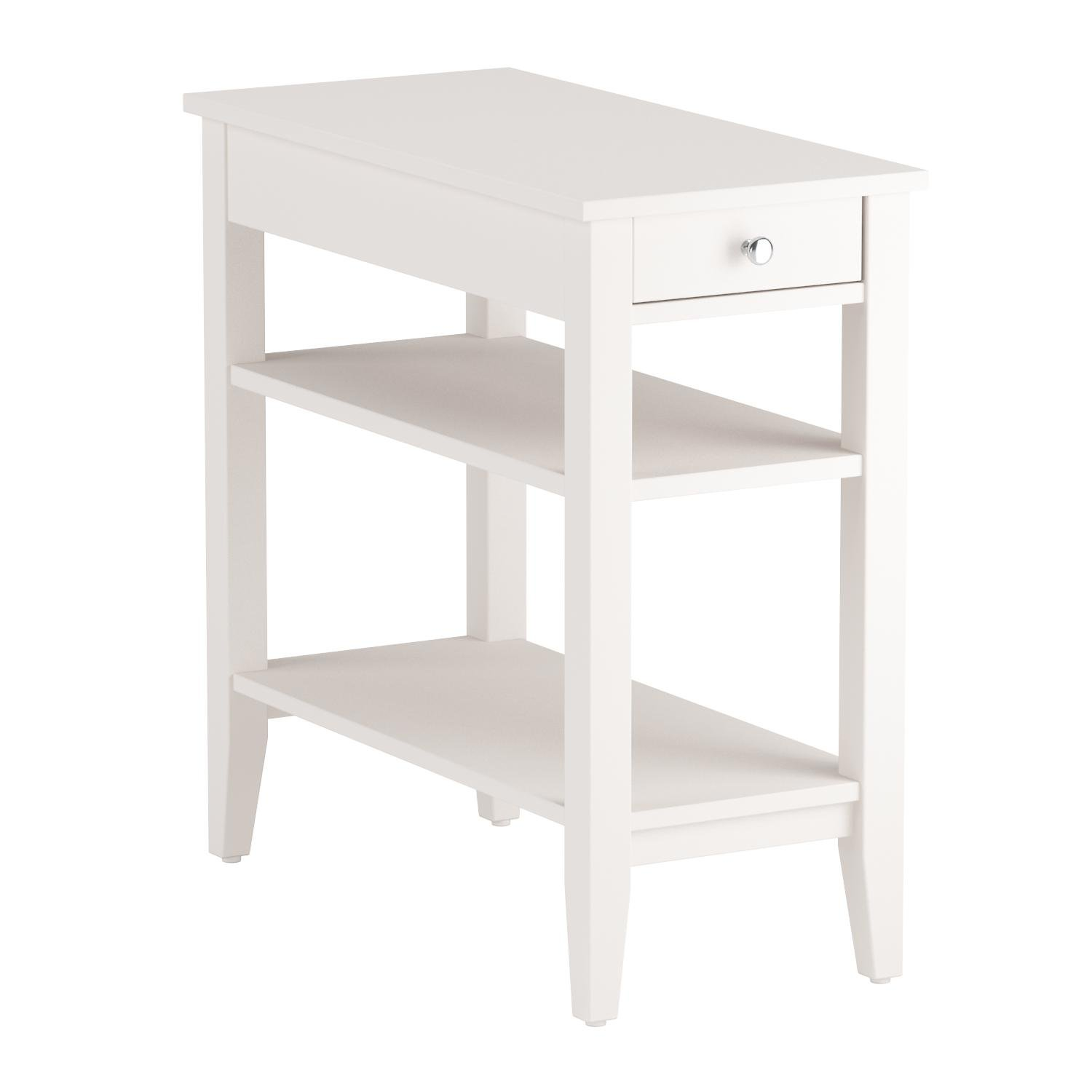 Convenience Concepts American Heritage Collection 3-Tier End Table with Drawer, White