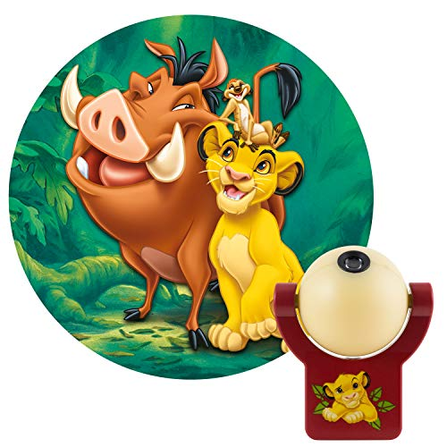 Disney Lion King LED Plug-in Night, Kids, Light Sensing, Auto On/Off, Projects Image of Simba, Timon, Pumbaa on Ceiling or Wall, for Bedroom, Playroom, Nursery, 43845, 1
