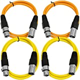 SEISMIC AUDIO - SAXLX-2-4 Pack of 2' XLR Male to XLR Female Patch Cables - Balanced - 2 Foot Patch Cord - Orange and Yellow