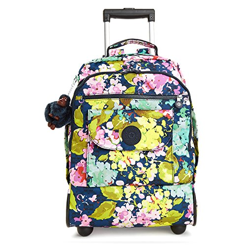Kipling Women's Sanaa Large Printed Rolling Backpack One Size Luscious Florals Blue