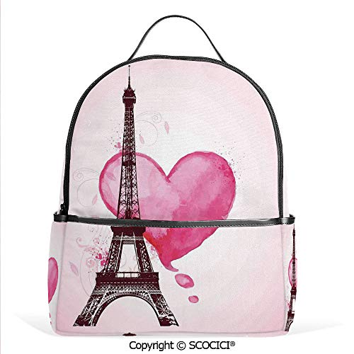 - All Over Printed Backpack Eiffel Romantic Valentine Love Watercolor Themed Heart Leaf Silhouette Print,Fuchsia Brown,For Girls Cute Elementary School Bookbags