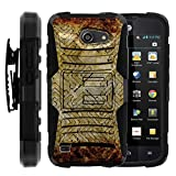TurtleArmor | Huawei Tribute Case | AT&T Fusion 3 Case [Hyper Shock] Armor Solid Hybrid Cover Stand Impact Silicone Layer Belt Clip Online Gaming Design - Retro Maze