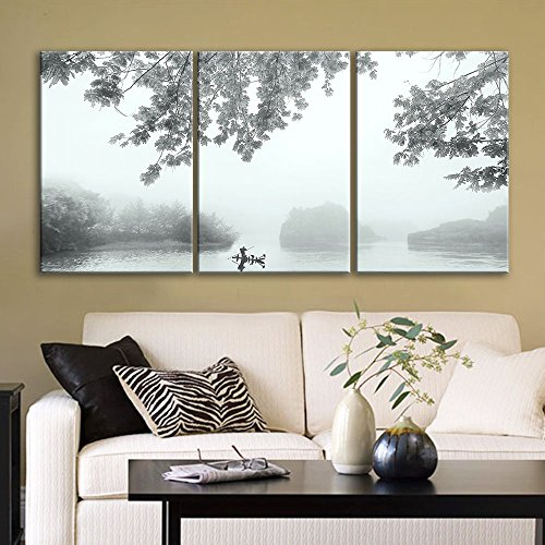 3 Panel Fisherman and Boat on Calm River in The Mist x 3 Panels