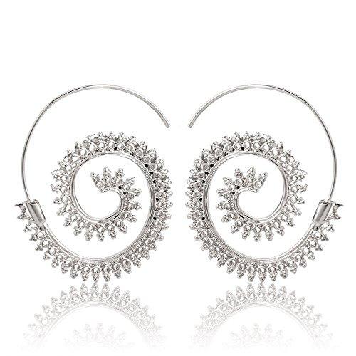 Vintage Boho Style Women Circles Round Spiral Tribal Hoop Earrings Retro Jewelry By NYKKOLA