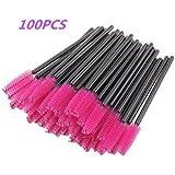 G2PLUS 100 Pack Disposable Eyelash Mascara Brushes Wands Applicator Makeup Brush Kits Pink