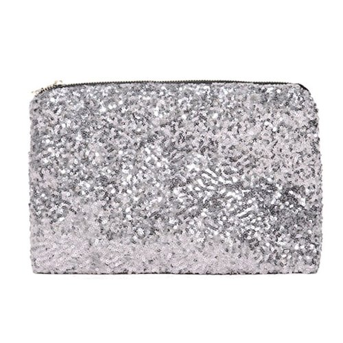 HuaYang Fish Scales Clutch Handbag Paillettes Wallet Purse Credit Card Pocket Bag(Silver)