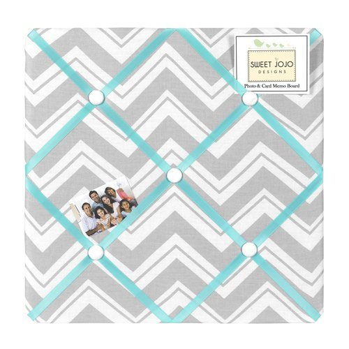 Turquoise and Gray Chevron Zig Zag Fabric Memory/Memo - Memo Photo Bulletin Board