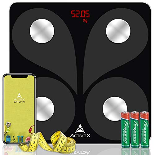ActiveX (Australia) Savvy Smart Digital Body Composition Body Fat Scale with free ActiveX app - Charcoal Black - With Measuring Tape (B07H2L97CB) Amazon Price History, Amazon Price Tracker