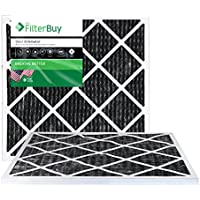 FilterBuy Allergen Odor Eliminator 14x18x1 MERV 8 Pleated AC Furnace Air Filter with Activated Carbon - Pack of 2 - 14x18x1