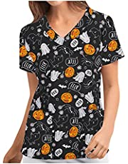 BingYELH Scrub_Tops for Womens Halloween Print Short Sleeve V-Neck Pocket Uniform Tunic Blouse T-Shirt Tops Workwear