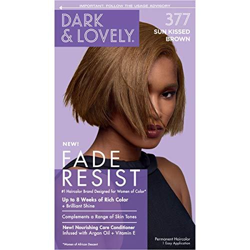 Permanent Hair Color by Dark and Lovely Fade Resist I Up to 100% Gray Coverage Hair Dye I Sunkissed Brown 377 I SoftSheen-Carson I Packaging May Vary