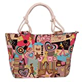 Women Handbag Tote Flower Printing Canvas Graffiti Shoulder Bag Style17 one size