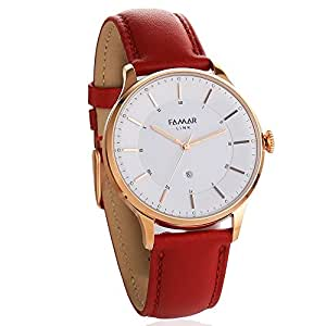 Famar Light Red leather Hybrid Smart watch L12C11C-Flame Red Color