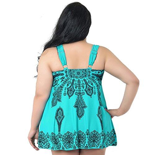 imbottito verde bagno KAYI Print donna Size Floral intero con Costume da schienale Plus reggiseno senza Costume Swimdress nBTaZU