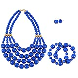 KOSMOS-LI Women's Popular Beaded Layered Statement Necklace Bracelet Earrings Set