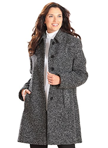 AmeriMark Tweed Coat Plus Size Black/White