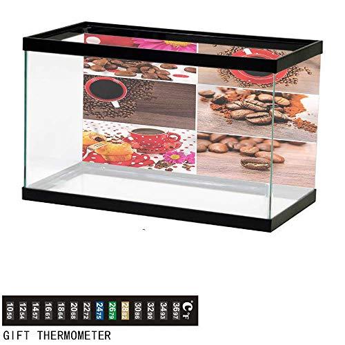 bybyhome Fish Tank Backdrop Kitchen,Mugs Polka Dots Flowers,Aquarium Background,48