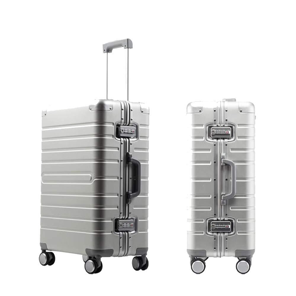 スーツケーストロリーキャリーアルミマグネシウム合金荷物ハードシェルトラベルバッグ軽量4回転ホイール41*25*64cm B07TQLCX6Q Silver