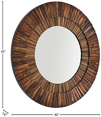 """Stone & Beam Round Layered Wood Mirror, 42"""" H, Dark Wood Finish"""