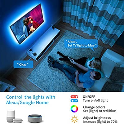 TV LED Backlights, Govee 9.8ft RGB Strip Lights with APP for 46-65in TV, 16 Million DIY Color Accent Strip Lighting Compatible with Alexa, Google Home, USB or Adapter Powered [23.28ft and 21.64ft]