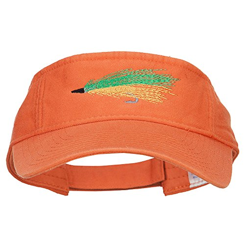 Green Fly Fishing Embroidered Pro Style Cotton Washed Visor - Orange OSFM by e4Hats.com (Image #4)