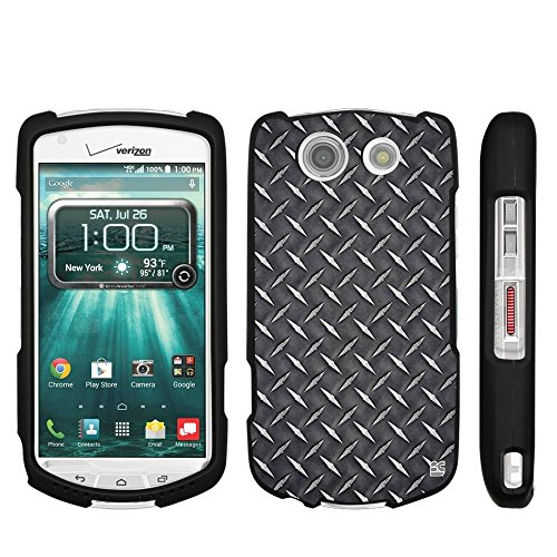 (For Kyocera Brigadier E6782 (Verizon,Sprint,International) Beyond Cell For Premium Protection Slim Light Weight 2 piece Snap On Non-Slip Matte Hard Shell Rubber Coated Rubberized Phone Case Cover With Design - Black Diamond Plate Steel)