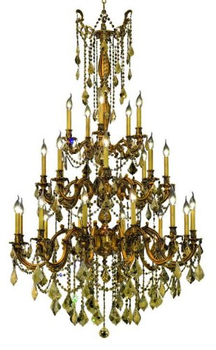 Elegant Lighting 9225G38FG-GT/RC Rosalia 62-Inch High 25-Light Chandelier, French Gold Finish with Golden Teak (Smoky) Royal Cut RC (Rosalia 25 Light Chandelier)