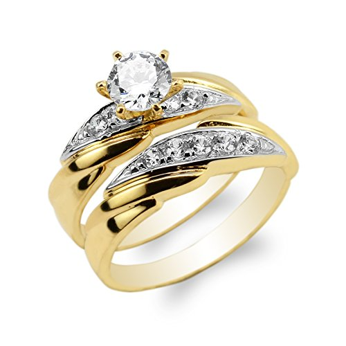 JamesJenny 10K Yellow Gold Duo Set Two Tone Colored Luxury Wedding Ladies Ring Size 7.5