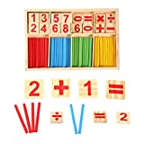 Zerodis Colorful Wooden Number Cards Counting Sticks Baby Preschool Math Educational Toys Building Blocks and Intelligence Stick for Kids Children
