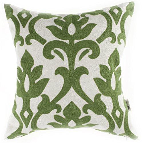 Kevin Textile Square Cotton Linen Vintage Floral Pattern Emb