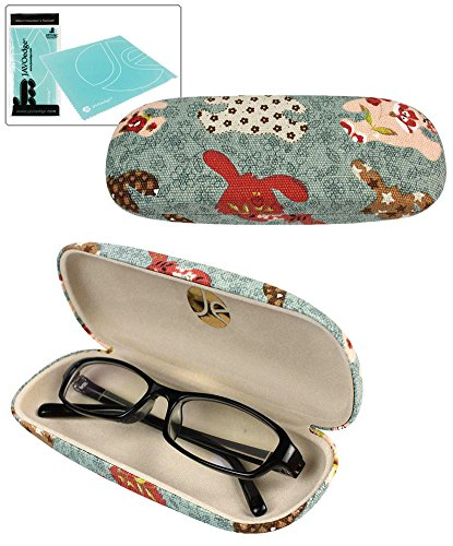 JAVOedge Blue Rabbit Fabric Print Clam Shell Style Eyeglass Case with Bonus Mircofiber Glasses Cleaning - Sunglasses Case Cute
