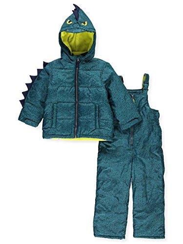 Carter's Toddler Boys' Character Snowsuit, Green Dinosaur, 4T - Suit Snowsuit