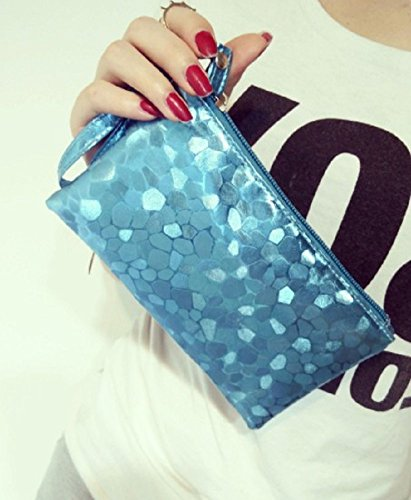 Wristlet PU Women Cosmetic Leather Blue Casual Pouch O Clutch for Sky Tokyo Fwy5yqTa