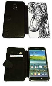 Funda Tipo Cartera Protectora Abatible Completa Estilo Funky Vintage con Diseño de Elefante Azteca para Samsung Galaxy Note 3