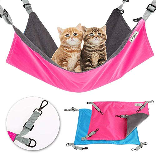 - Metacrafter Pet Hammock Hamster Hanging Toy, Small Pet Pad Bed for Guinea Pig,Chinchilla,Kitten,Cat,Ferret,Mice,Rabbit,Squirrel Playing Cozy Spot-Waterproof Reversible 2 Sides -Use with Crate or Cage