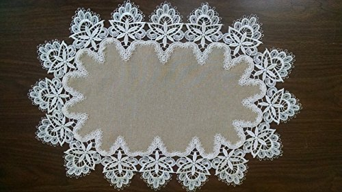 Table Runner in Antique White Venetian Lace and Light Brown Burlap Linen Material, Size 72 x 16 inches - 72 Antique Linen