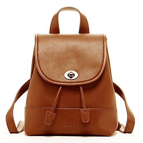 Drawstring Backpack Leather For Women Brown Travel Handbags Cute Designer Backpacks Small Purses Stylish For Girls Best Back pack Cognac it Bag