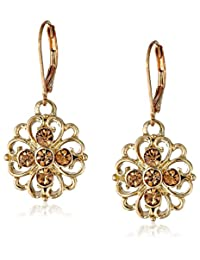 1928 Jewelry Basic Classics Filigree Flower Drop Earrings
