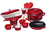 Bruntmor BR-SC281 21 Piece Enameled Cast Iron Cookware Set, Fire Red, 18 x 18 x 15 inches