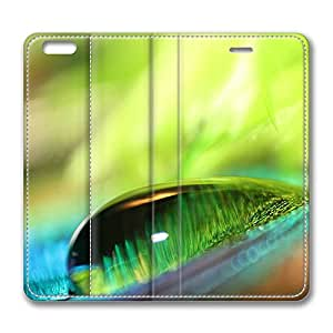 iPhone 6 Case, iPhone 6 Leather Case, Fashion Protective PU Leather Slim Flip Case [Stand Feature] Cover for New Apple iPhone 6(4.7 inch) - Green Water Drop Bokeh