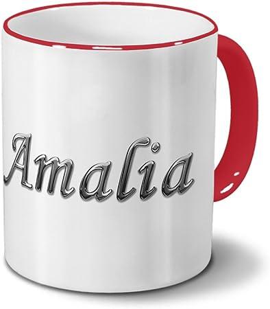 Taza con diseño de nombre de Amalia - diseño de cromo-letras ...