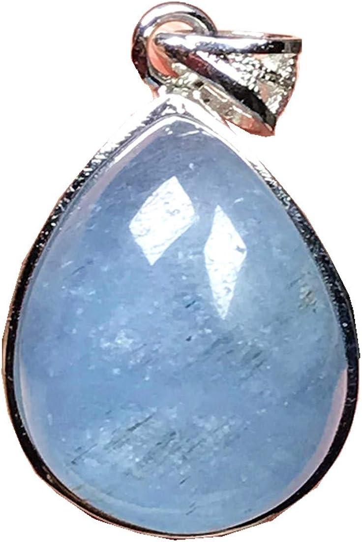 DUOVEKT - Colgante de plata de ley con aguamarina azul océano, piedra de aguamarina para mujeres, hombres, gotas de agua, 18 x 15 x 9 mm, cuentas de piedras preciosas AAAAA