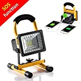[1800Lumens Max With Emergency Flashing LED] 15W 24LED Spotlights Work Lights Outdoor Camping Lights, Built-in Rechargeable Lithium Batteries (With USB Ports to charge Mobile Devices)