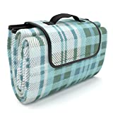 Picnic Blanket EXTRA LARGE Family Size and 100% Waterproof So No More Wet Fannies | Premium Quality | Fleece Outdoor Tote Rug | PLUS Unique Drawstring Storage Sackpack Bag | THE Coolest Beach Mat