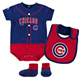 Chicago CUBS BABY BALL PLAYER CREEPER BIB AND BOOTIE SET (12 Months)