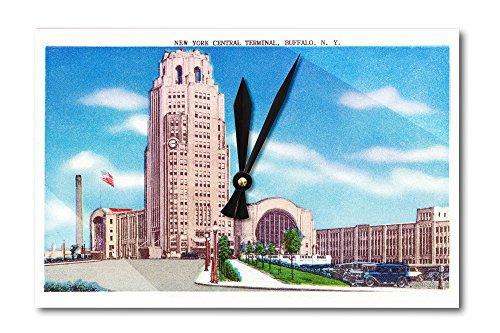 Buffalo, New York - Exterior View of the NY Central Terminal Bldg (Acrylic Wall Clock)
